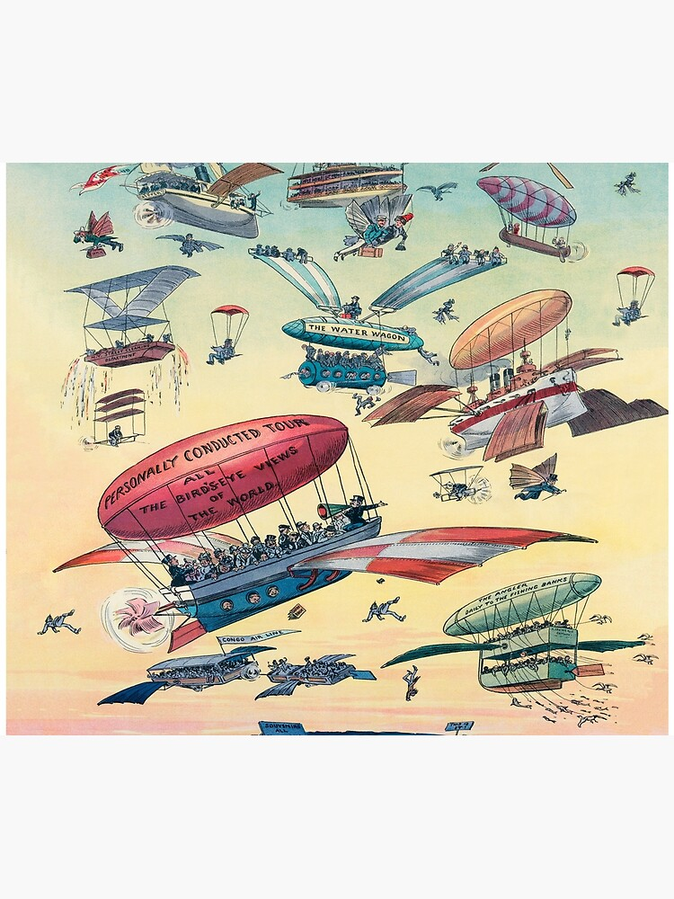 Futuristic airships of the past | Duvet Cover