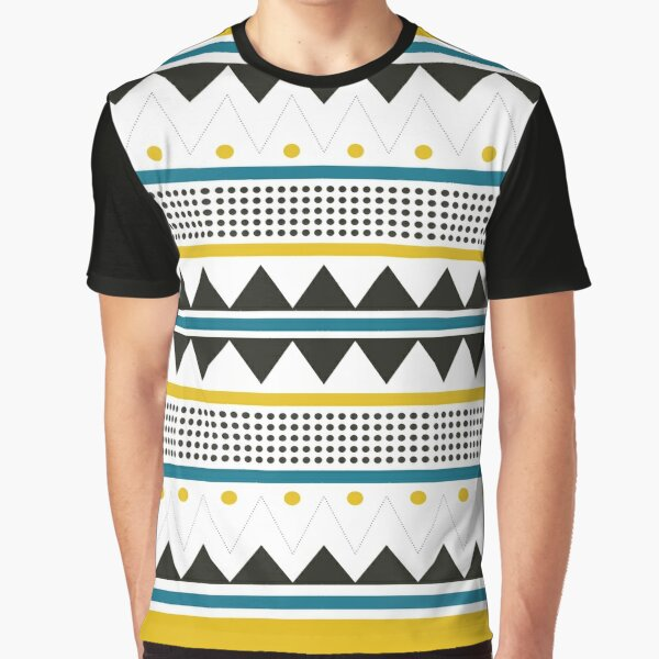 Mustard and teal tribal pattern Graphic T-Shirt