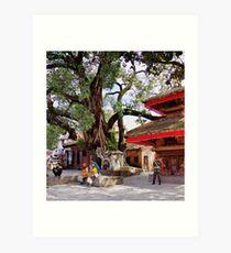 In Kathmandu's Durbar Square Art Print