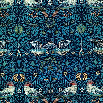 Blue textile pattern with birds by jeastphoto