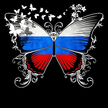 Russia Flag Butterfly Russian National Flag DNA Heritage Roots Gift  by nikolayjs