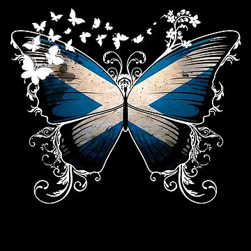 Scotland Flag Butterfly Scottish National Flag DNA Heritage Roots Gift  by nikolayjs