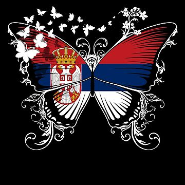 Serbia Flag Butterfly Serbian National Flag DNA Heritage Roots Gift  by nikolayjs