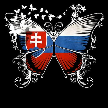 Slovakia Flag Butterfly Slovakian National Flag DNA Heritage Roots Gift Slovak by nikolayjs