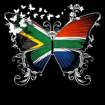 South Africa Flag Butterfly South African National Flag DNA Heritage Roots Gift by nikolayjs