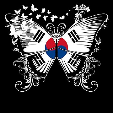 South Korea Flag Butterfly South Korean National Flag DNA Heritage Roots Gift  by nikolayjs