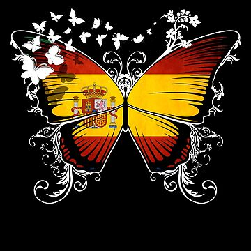 Spain Flag Butterfly Spanish National Flag DNA Heritage Roots Gift  Espana by nikolayjs