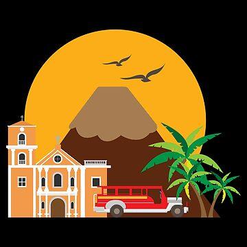 Manila Philippines San Agustin Church Jeepney Taxi - Gift Idea by vicoli-shirts