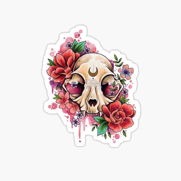 Cat Skull and Roses watercolor design Sticker