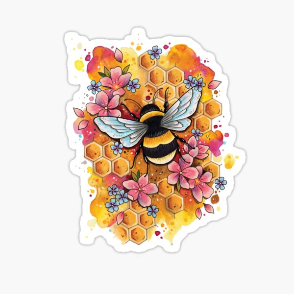 Bumble Bee watercolor design Sticker