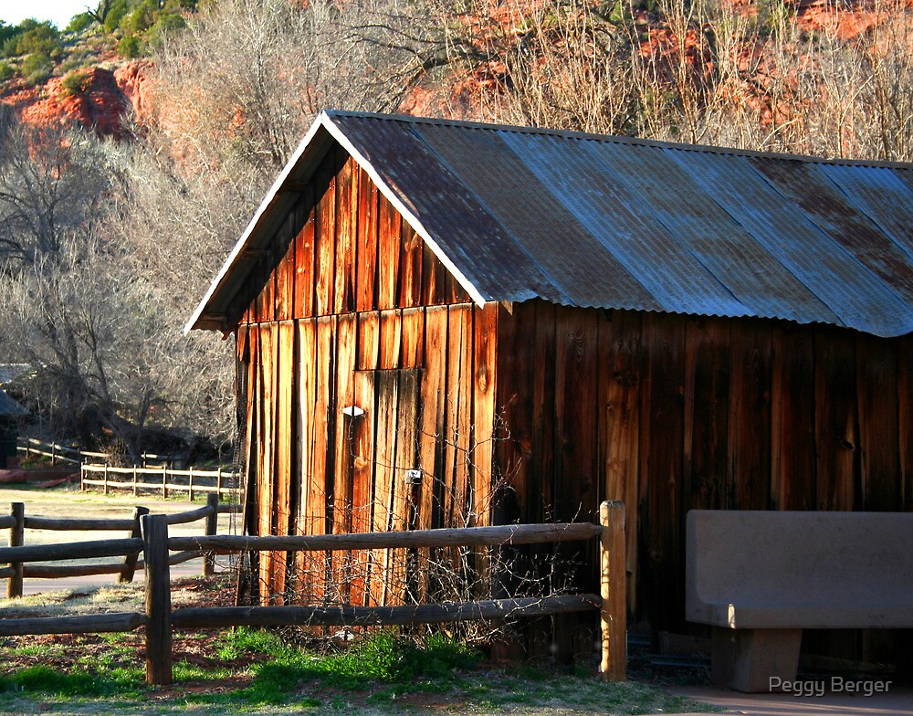 Cabin at Red Rock Crossing by Peggy Berger
