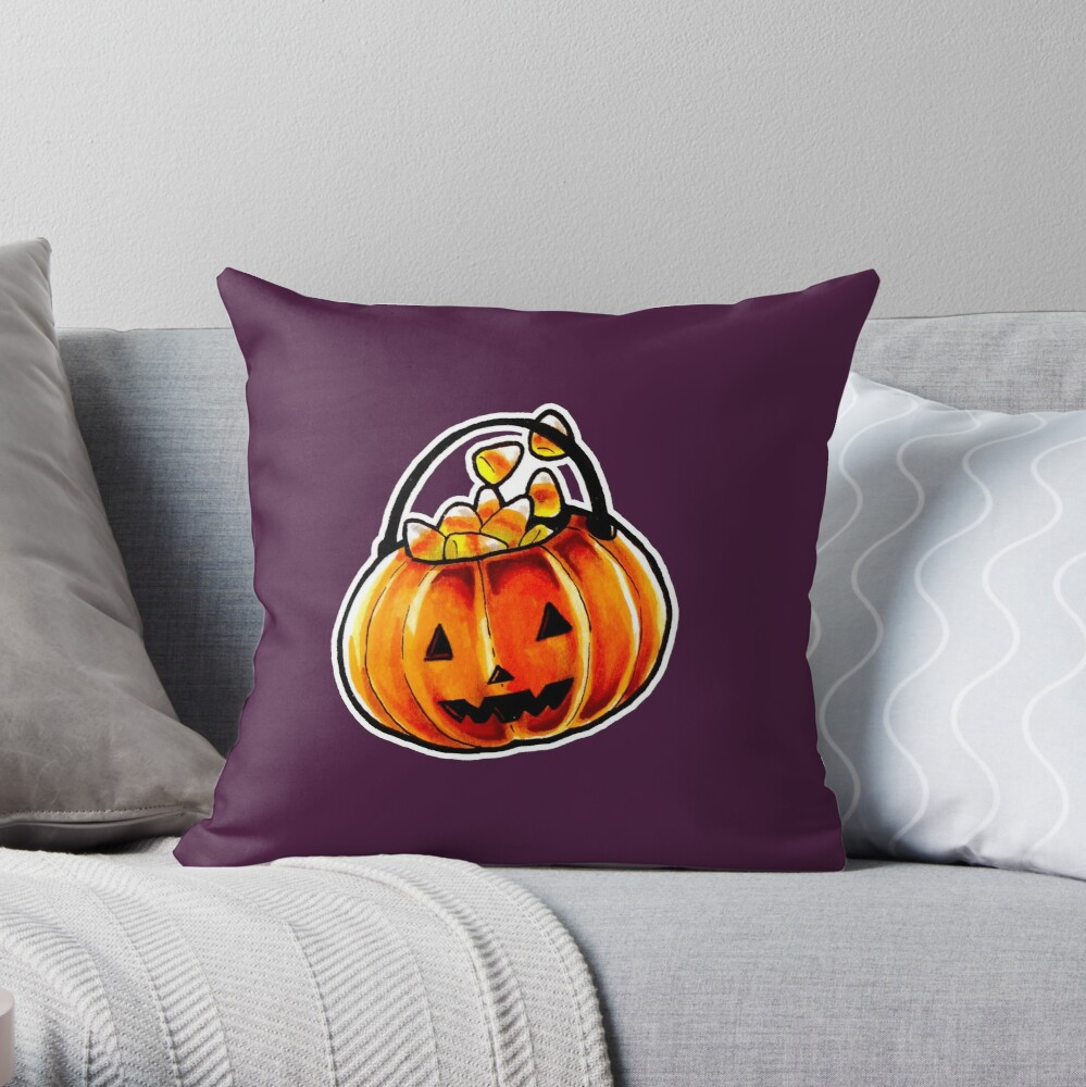 Jack-o'-lantern Throw Pillow