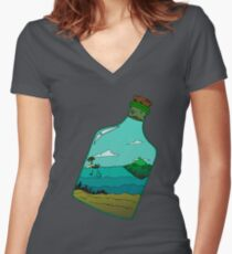 Island in a Bottle Women's Fitted V-Neck T-Shirt