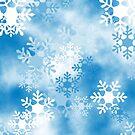 Blue White Snowflakes Pattern Design 2 by Digitalbcon