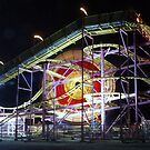 Ferris wheel becomes a Catherine wheel at the fairground by Terry Senior