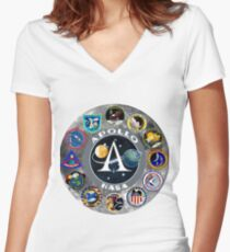 Apollo Mission Composite Logo Women's Fitted V-Neck T-Shirt
