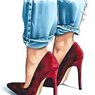 Red suede shoes by Elza Fouche