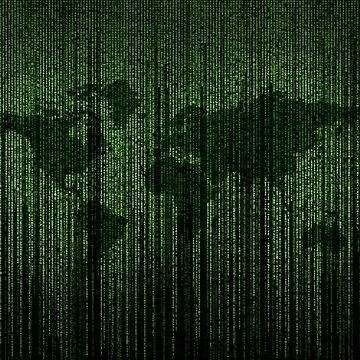 Matrix background on map of the world by iresist