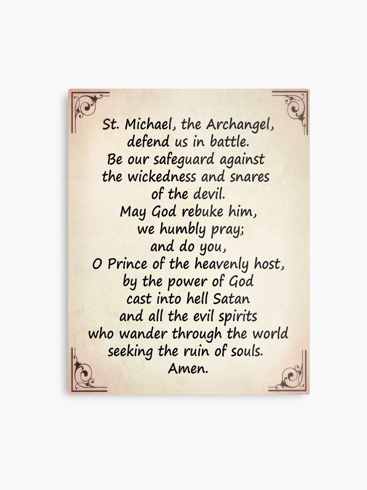 photo relating to St. Michael the Archangel Prayer Printable identify The Saint Michaels Prayer Steel Print