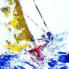 Red Yacht - Palette Knife Acrylic on Canvas Board by Paul Gilbert