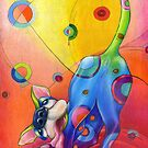 Topsy-turvey Tripper: dog at play by Alma Lee