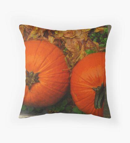 Pumpkins in the Rain Throw Pillow
