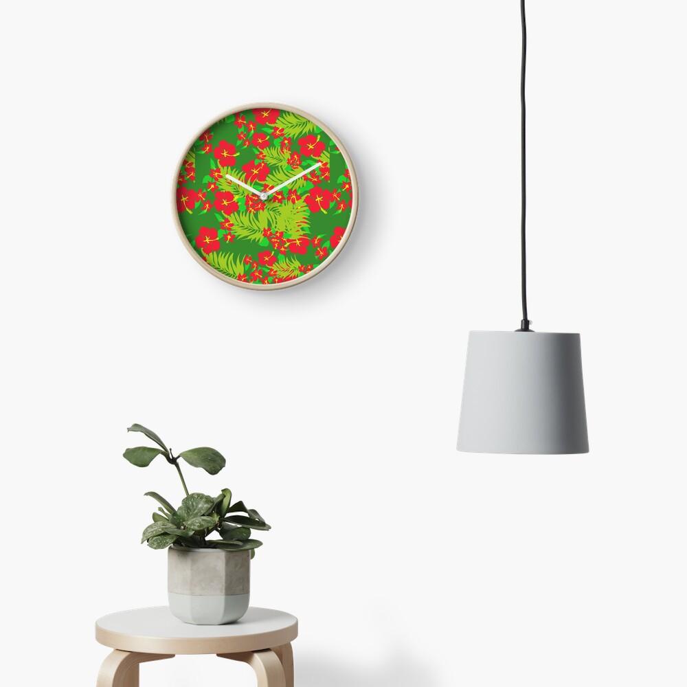 Red Hibiscus Clock