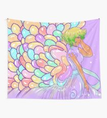 The Girl with Balloon Wings ( Purple ) Wall Tapestry