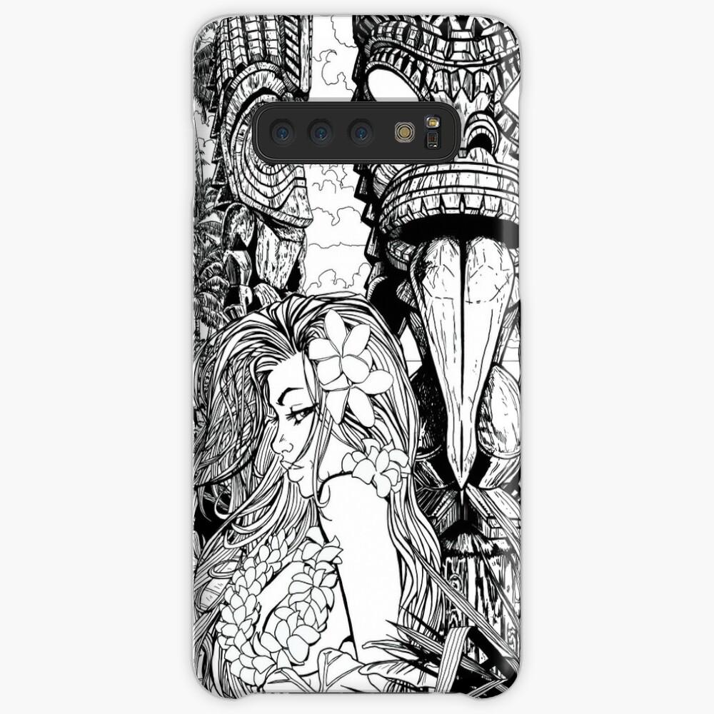 Girl with 2 Tiki Line art Samsung Galaxy Snap Case