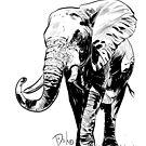 """""""Elephant"""" Original Digital Black and White Art by Dirk Hooper by DirkHooper"""