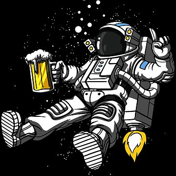 Funny Astronaut with beer ⛔ HQ quality by MichailoAvilov