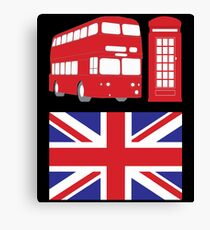 England Flag Bus Telephone Gift Canvas Print