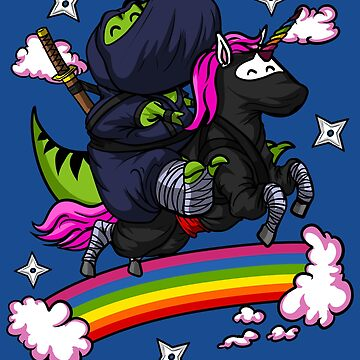 T-Rex Dinosaur Ninja Riding Unicorn Samurai Rainbow by underheaven