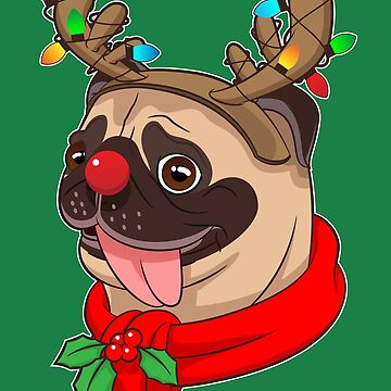 Funny Cute Pug Cool Costumes Christmas Gift Reindeer by Teeleo