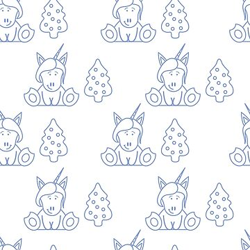 Seamless pattern with unicorns and Christmas tree. by aquamarine-p