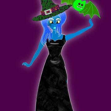 The Witch's Daughter and Pet Bat Ready for the Halloween Ball. by ZipaC