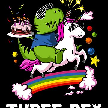 Three Rex Dinosaur Riding Unicorn Birthday Party by underheaven