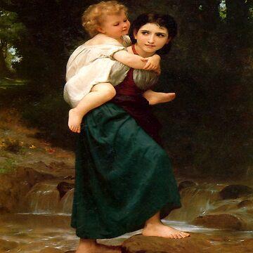 Passage gue(Le Passage du gue)-William Adolphe Bouguereau by LexBauer
