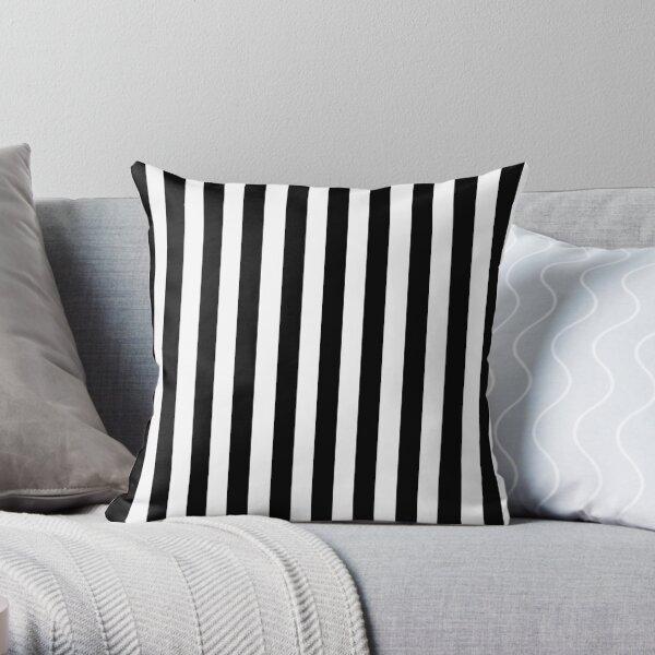 Black White Stripe Bedspread Throw Pillow