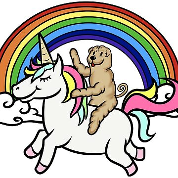 Funny Shar Pei Riding Unicorn by ilovepaws