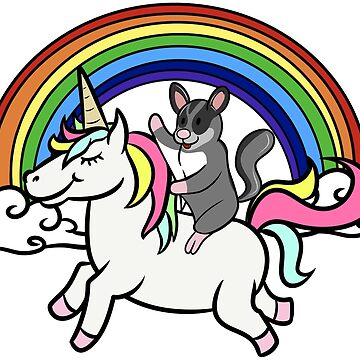 Funny Sugar Glider Riding Unicorn by ilovepaws