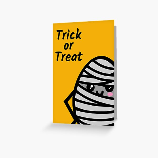 Trick or Treat - Creepy Egg Mummy - Halloween Greeting Card