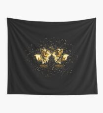 Anthropomorphized animals cartoon golden Gold Wall Tapestry