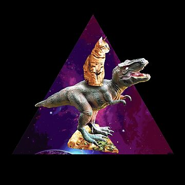 Space Cat Riding Dinosaur Design Gift  by allsortsmarket