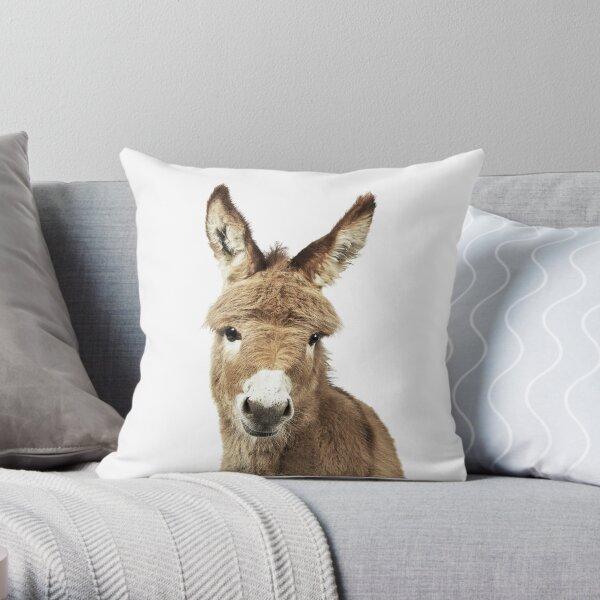 Donkey Portrait Throw Pillow