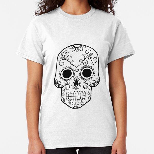 Bedruckte Damen T-Shirt mit  Aufdruck im mexikanischen Stil Bunte Totenköpfe