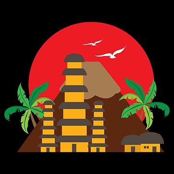 Bali Tempel Pura Besakih Flat Design Gift Idea by vicoli-shirts