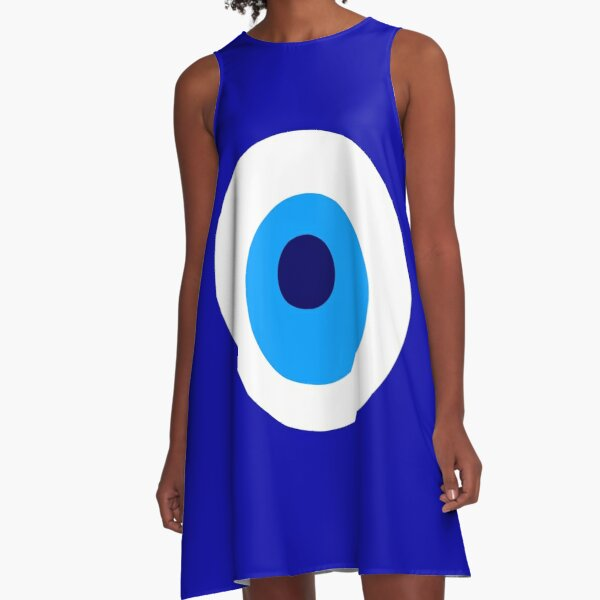 Nazar Evil Eye Protection Symbol Amulet Turkish Turkey Persian Persia Iran Greece Greek Pakistan A-Line Dress