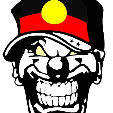 Aboriginal Flag Horror Clown Love Hate Coat of Arms Australia by lemmy666