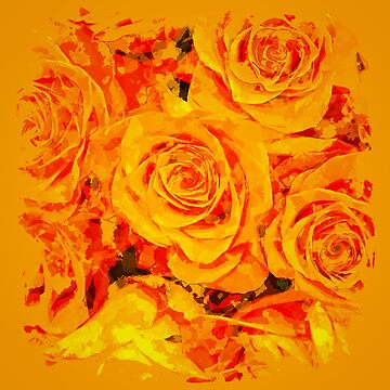 gxp flowers orange roses paint watercolor effect by gxp-design